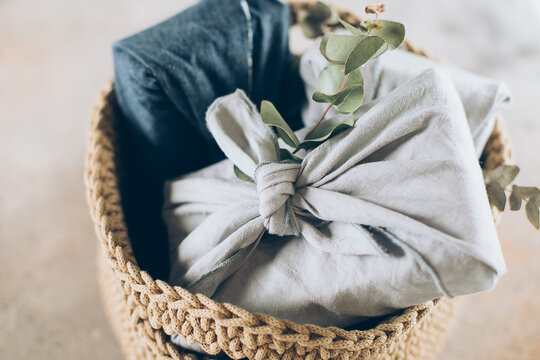 Gray and jeans furoshiki wrapping cloth. Linen furoshiki cloth. Reusable gift wrapping cloth.