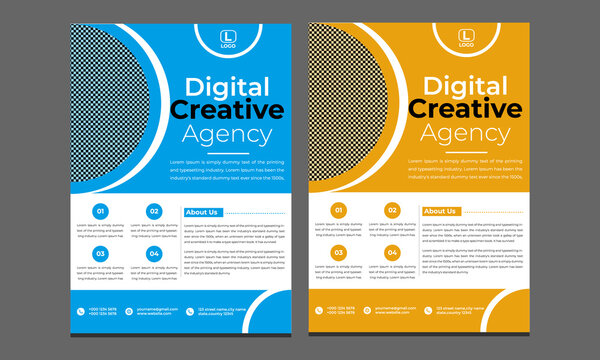 Corporate blue and yellow flyer design