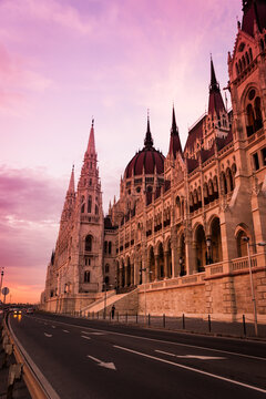 Hungarian Parliament building in sunset, Budapest