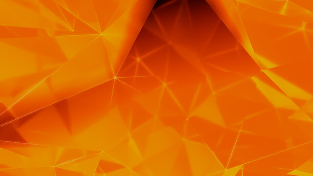 Futuristic, High Tech, orange and yellow background, with network lines conveying a connectivity concept. 3D render