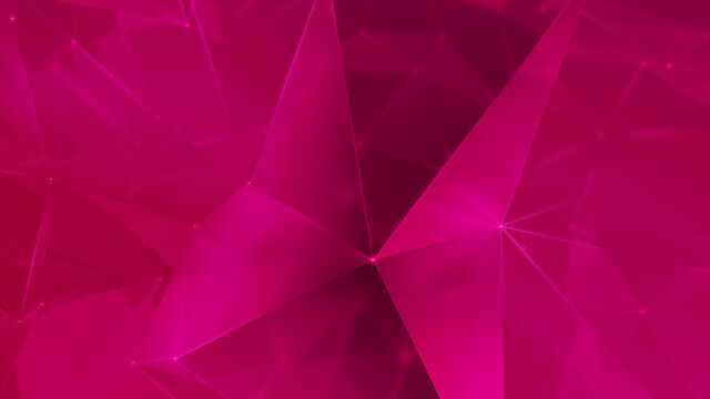 Futuristic, High Tech, hot pink background, with network lines conveying a connectivity concept. 3D render