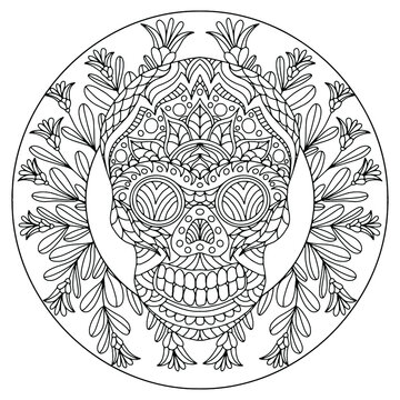 wreath with flowers and skull with folk style ornaments for coloring, vector, coloring book pages