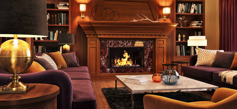 Interior design of a cozy living room in the evening with a fireplace, sofas and decor accessories