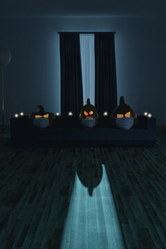3d rendering of creepy jack o' lanterns with face mask sitting on the sofa in the darken living room