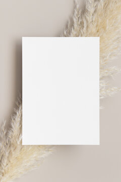 White invitation card mockup with a pampas grass decoration. 5x7 ratio, similar to A6, A5.