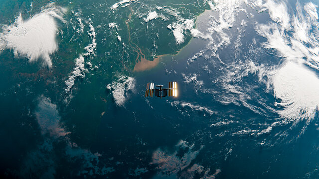 International Space Station (ISS) Orbiting Earth over Amazon River in Space Top Down View - SpaceX & NASA Research - ISS Satellite Ocean Sunset View Low Orbit - 3D Rendering