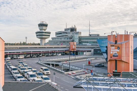 Berlin-Tegel Otto Lilienthal main international airport terminal and control tower