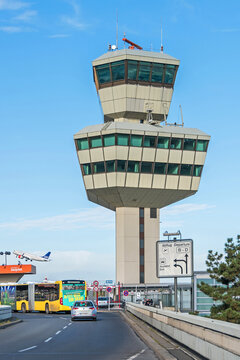 Control tower of Berlin-Tegel Otto Lilienthal main international airport
