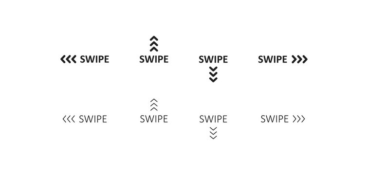 Swipe icon. Up arrow button symbol. Social media scrollsign, slide logo design in vector flat