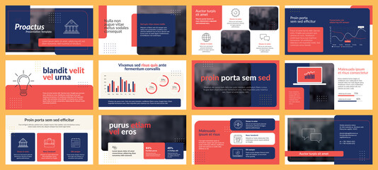 Fototapeta Presentations templates elements and infographics in vector design. Business template for presentation slide, corporate report, marketing, flyer and leaflet,  advertising, annual report and banner. obraz