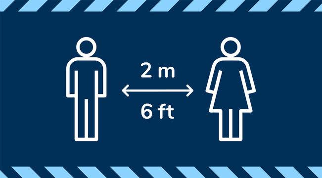 2m 2 metre distance social distancing warning sign for coronavirus covid-19 pandemic