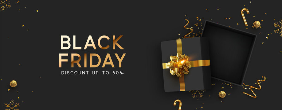 Black Friday Super Sale. Realistic black gifts boxes. Empty open gift box top view with gold bow. Dark background golden text lettering. Horizontal banner, poster, header website. vector illustration