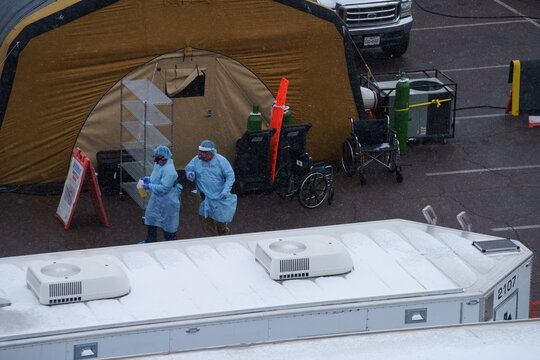 Tents are set up for an overflow of coronavirus disease (COVID-19) patients at University Medical Center in El Paso