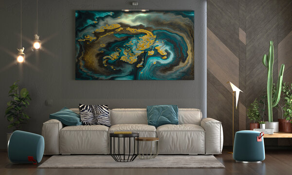 Modern sitting with a gray background and a turquoise and color overlap wall painting, table, sofa -3d max