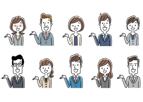 イラスト素材:スーツ姿の男女、ビジネス、セット、紹介、案内