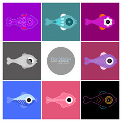Fish Design vector illustration. Composition of eight various fish icons isolated on a colored backgrounds.