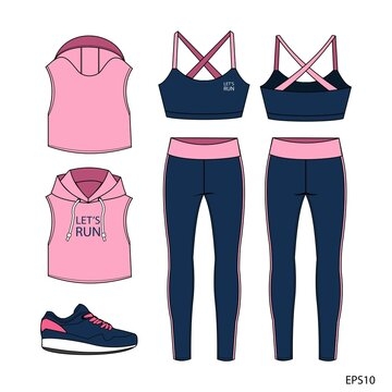 Set of sport wear collection. sports wear fashion  flat sketch template, fitness out fit front and back view
