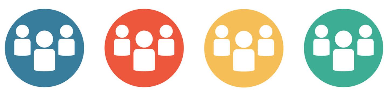 Bunter Banner mit 4 Buttons: 3 Personen oder Gruppe