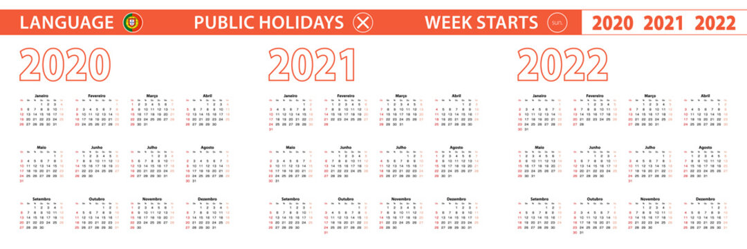 2020, 2021, 2022 year vector calendar in Portuguese language, week starts on Sunday.