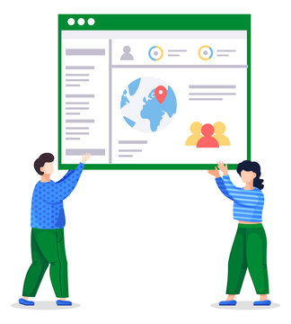 Man and woman in similar color clothes holding web page in hands. Coders or programmers created working in team social website with navigation and personal page. People isolated at white background
