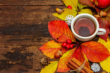 Hot tea with colorful autumn leaves, acorns, cinnamon and rosehip berries
