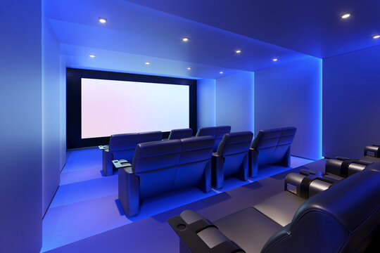 3d home cinema room with blue lights and black leather armchairs with movie screen