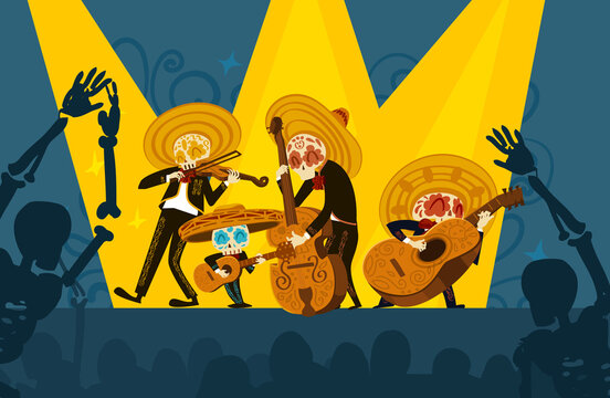 Mariachi skeleton musical band giving a concert