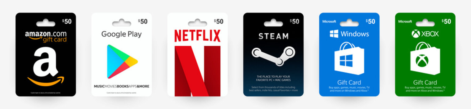 Set gift card Amazon, Google, Netflix, Steam, Windows, Xbox. Realistic gift cards with shadow isolated on light background. Vector illustration EPS10