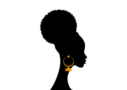 Black woman portrait with puff drawstring ponytail, African American women face profile. Logo silhouette with fashion curly afro hair style concept and ethnic traditional earrings, vector isolated