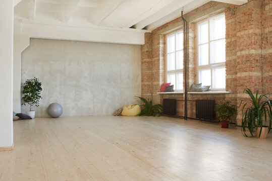 Image of modern empty dance studio in health club