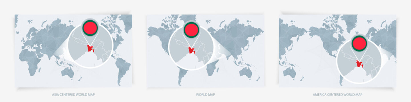 Three versions of the World Map with the enlarged map of Bangladesh with flag.
