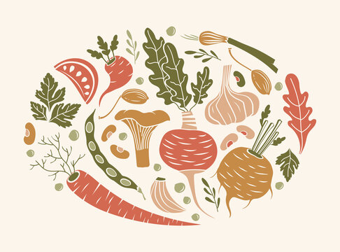 vector card with vegetables and mushrooms