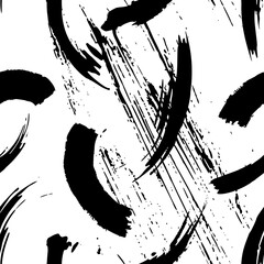 seamless brush strokes pattern, abstract background, with paint strokes, dirty, black and white