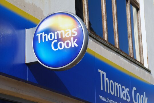 A branch of the Thomas Cook travel agent chain at Hastings in East Sussex, England on March 9, 2009. Founded in 1841, the company ceased trading in September 2019.