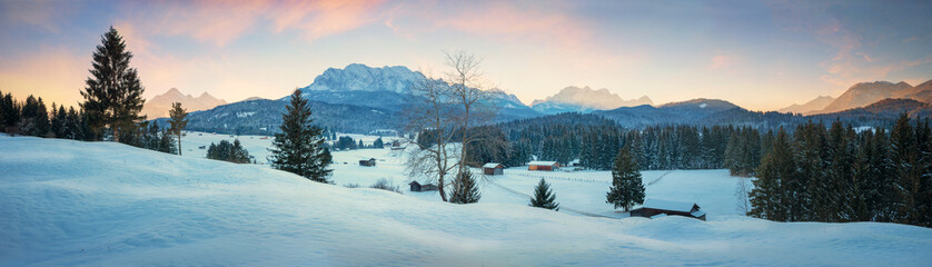 dreamy winter landscape at Buckelwiesen near Krun Mittenwald, bavarian alps at dawn