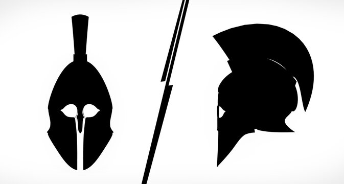 2 views (front and side) of a flat ancient Spartan helmet isolated, flat illustration, Ideal for logo creations