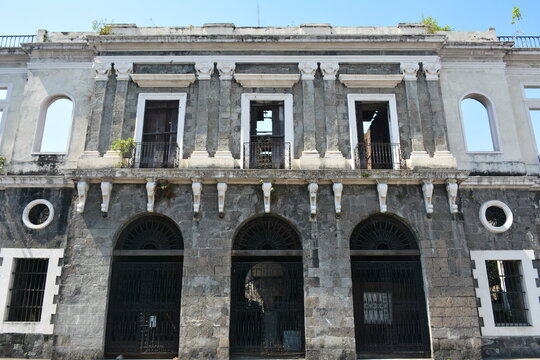 Aduana (customs house) abandoned building facade at Intramuros in Manila, Philippines