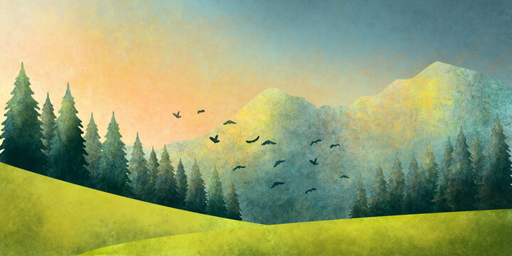 Watercolor grunge illustration of a summer landscape of forest and mountains at sunset, as well as birds in flight