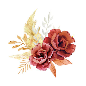 Watercolor burgundy flower composition bouquet. Fall autumn botanical floral in boho style. Modern pampas grass and wildfloral dried composition. Wedding invintation, baby shower, bridal card.