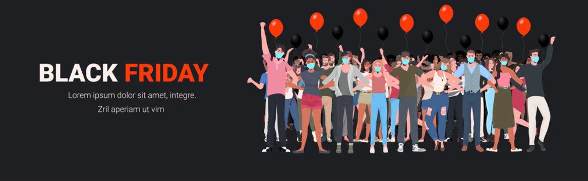 mix race people in masks standing with raised up hands men women having fun black friday big sale coronavirus quarantine concept full length horizontal vector illustration