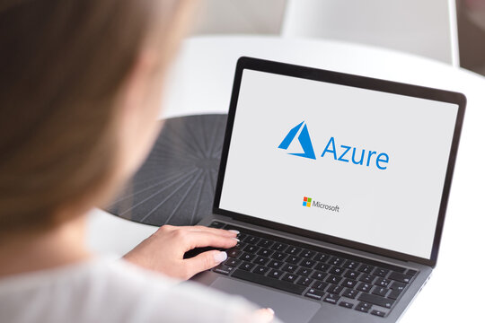 Guilherand-Granges, France - October 28, 2020. Notebook with Microsoft Azure logo. Cloud computing service created for building, testing, deploying, and managing applications and services.