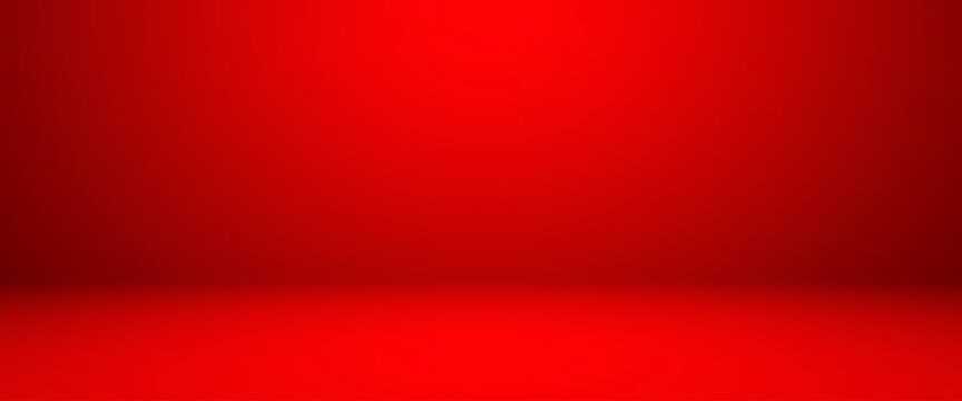 Empty red color studio room background, can use for background and product display