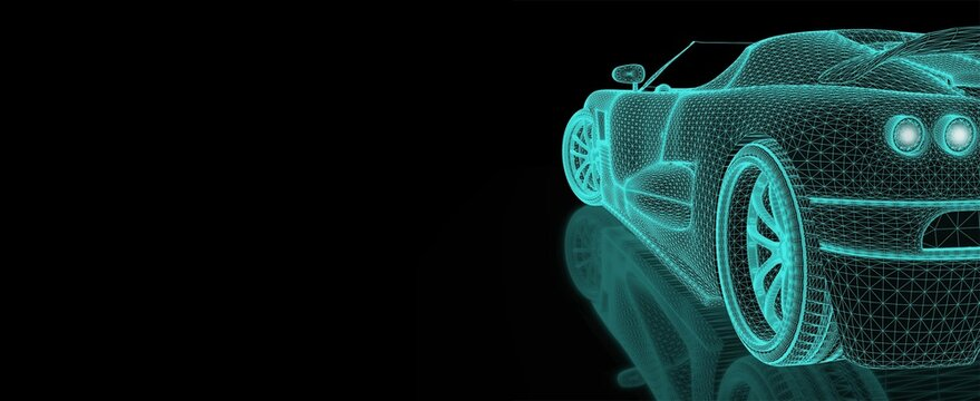 Engineering simulation. Car mesh with copyspace