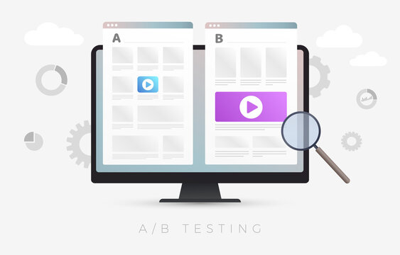 AB Testing flat vector concept illustration. Split testing and A-B comparison web site page. Online experiment with different ui elements to identify better user convenience