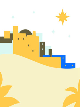Christmas Christian Nativity scene. Abstract, cartoon flat style vector. Star of Bethlehem Nativity Concept. Poster in cartoon style. The city of Bethlehem and the Star above. Christian religious art.