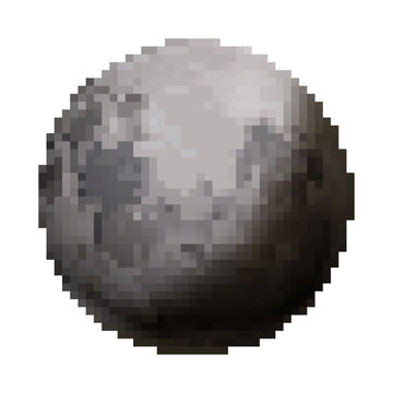 Bright glossy Moon, cute satellite in pixel art style on white