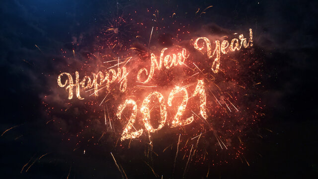 2021 Happy New Year greeting text with particles and sparks on black night sky with colored fireworks on background, beautiful typography magic design.