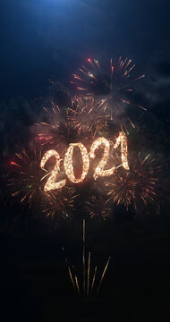 2021 vertical greeting text with particles and sparks on black night sky with colored fireworks on background, beautiful typography magic design, portrait orientation.