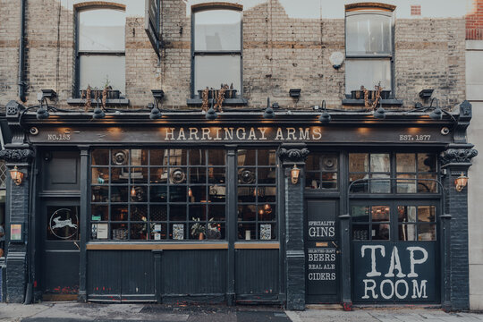 London, UK - August 20, 2020: Exterior of a closed Haringey Arms pub in Crouch End, London, UK.