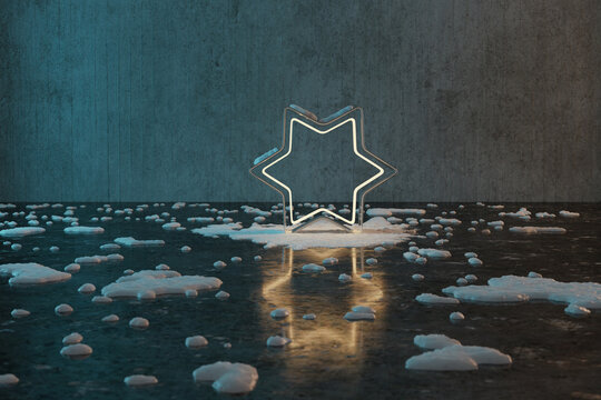 3d rendering of golden star shape with light covered by snow in front of grunge wall background with reflection floor